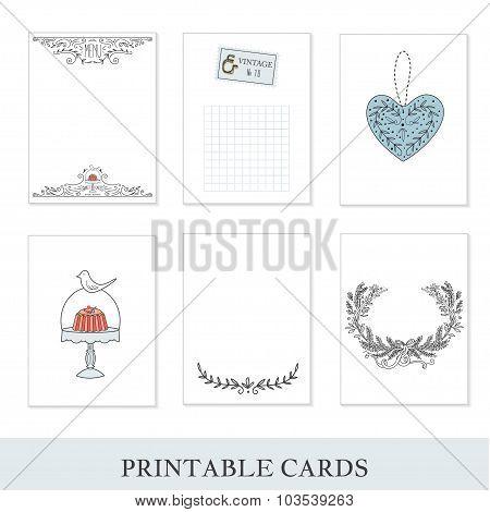 Set of 6 creative journaling cards.
