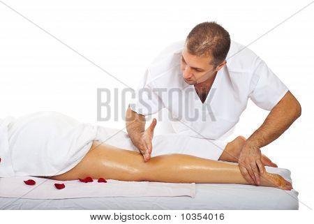 Friction Massage To Woman's Leg