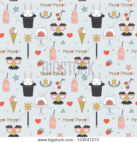 Children party seamless pattern - cute vector illustration with sweets and party festive decorations