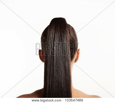Closeup Of Pony Tail. Straight Hair