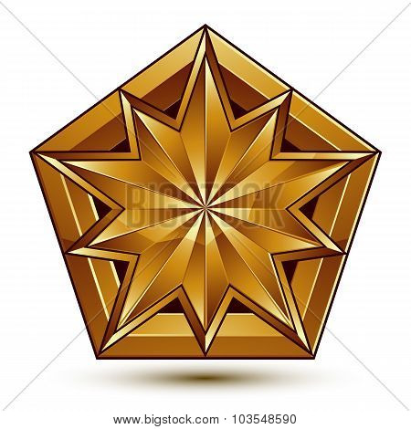 Vector Classic Emblem Isolated On White Background. Aristocratic Golden Star, Clear Eps8.