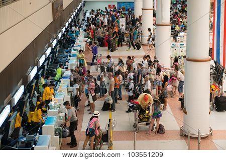 Passengers Registering On Check-in Desks The International Airport
