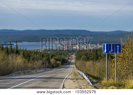 View from the heights of the city of Kandalaksha ...