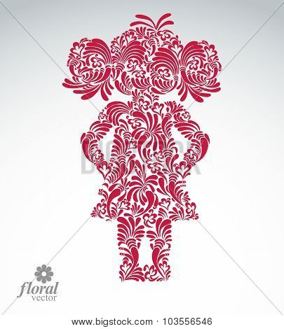 Beautiful Woman Standing, Vector Art Illustration Of A Cute Girl Hands Akimbo. Floral Image