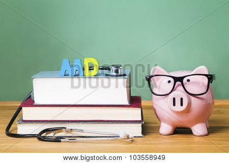 Medical Doctor Md Theme With Pink Piggy Bank