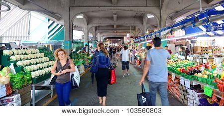 MONTREAL, CANADA - SEP 8: Jean-Talon Market interior on September 8, 2012 in Montreal, Canada. Montreal is the largest in Quebec, the second-largest in Canada and the 15th-largest in North America.