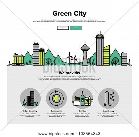 Green City Flat Line Web Graphics