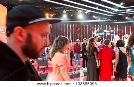 TV show filming backstage