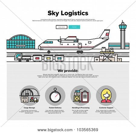 Airplane Logistics Flat Line Web Graphics