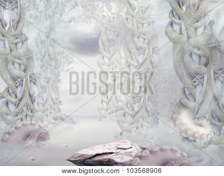 Mystery. Surrealistic Mysterious White Forest