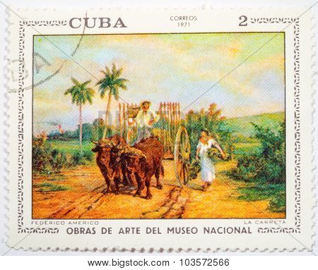 Moscow, Russia - October 3, 2015: A Stamp Printed By Cuba Shows A Picture Of Artist Federico Americo