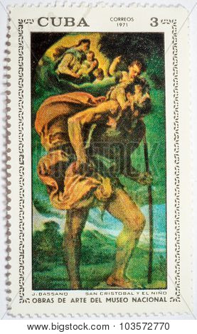Moscow, Russia - October 3, 2015: A Stamp Printed By Cuba Shows A Picture Of Artist J.bassano