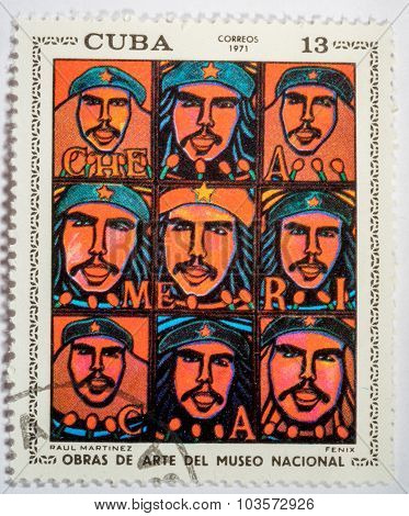 Moscow, Russia - October 3, 2015: A Stamp Printed By Cuba Shows A Picture Of Artist Raul Martinez