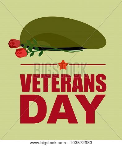 Soldiers green beret and flowers. Veterans Day. Vector illustration of patriotic national holiday USA poster