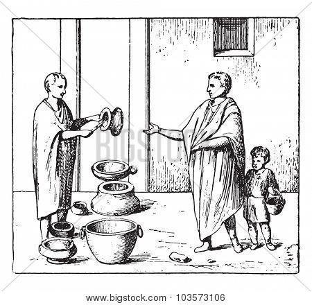 Merchant of pottery, vintage engraved illustration.