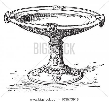 Etruscan Cup, vintage engraved illustration.