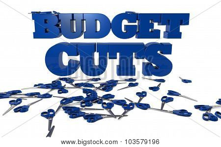 The words BUDGET CUTS rendered in 3D with scisors poster