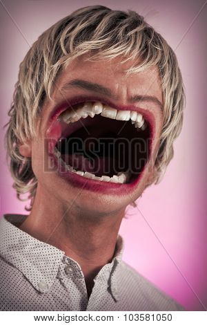 Surreal humongous yelling mouth expressing extreme anger poster