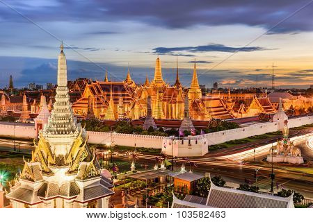 Bangkok, Thailand at the Temple of the Emerald Buddha and Grand Palace. poster