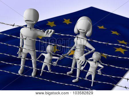 migration to europe concept - crisis in european union