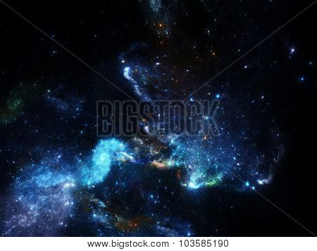 Deep space image with nebula and galaxies as background and texture for creating space scape poster
