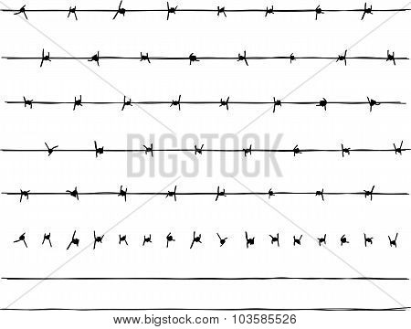 Barbed Wire Fence with Individual Barbs and Wires