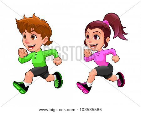 Funny running boy and girl. Cartoon vector isolated character.