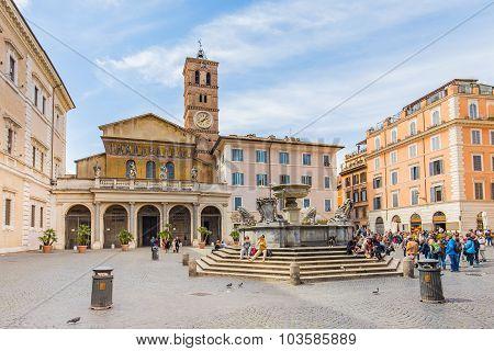 Trastevere Basilica Di Santa Maria In Rome, Italy