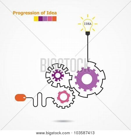 Creative Light Bulb Idea Concept And Computer Mouse Symbol. Progression Of Idea Concept. Business, E