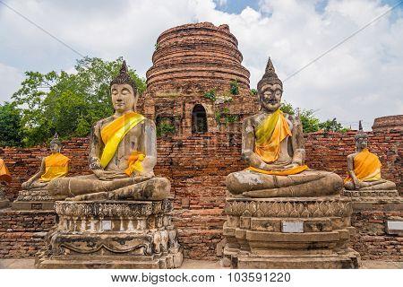 Ancient Buddha Statues At Ayutthaya