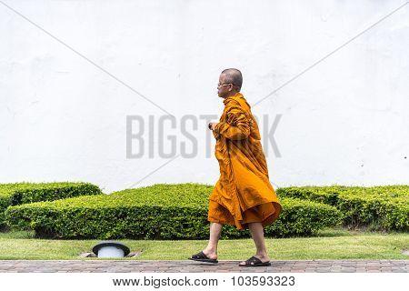 Buddhist Monk Walking