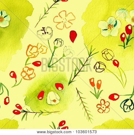 Abstract watercolour flowers seamless background pattern