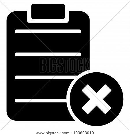 Reject Form vector icon. Style is flat symbol, black color, rounded angles, white background. poster