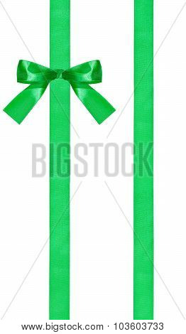 one green bow knot on two parallel satin ribbons isolated on white background poster