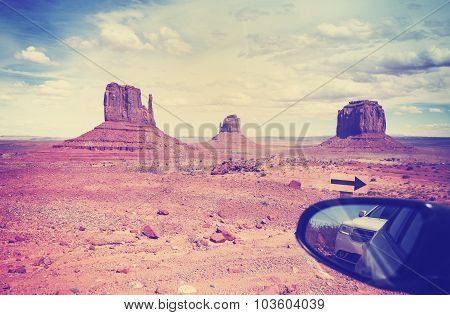 Vintage Instagram Style Wing Mirror In Monument Valley, Usa.