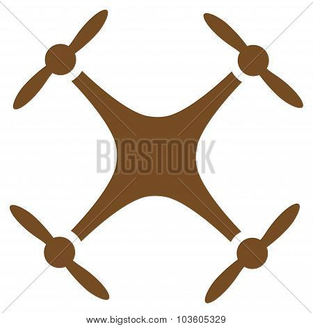 Airdrone vector icon. Style is flat symbol, brown color, rounded angles, white background. poster
