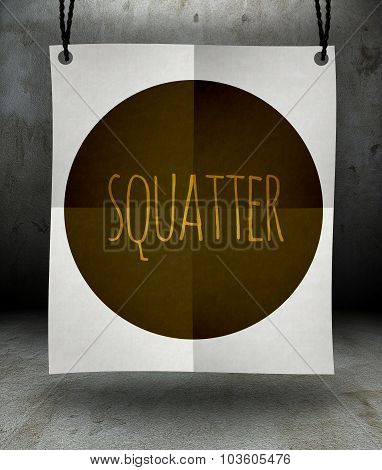 Squatter Paper Poster Hanging On Rope