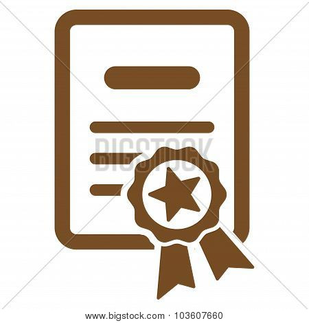 Certified Diploma vector icon. Style is flat symbol, brown color, rounded angles, white background. poster
