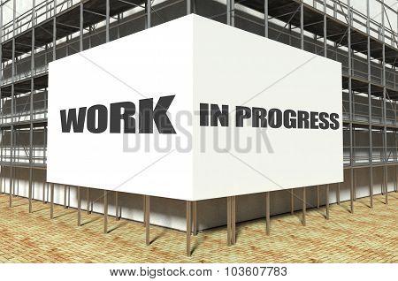 Work In Progress On Scaffold Billboard