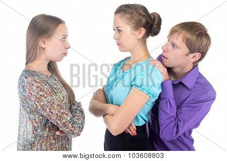 Cowardly young man and two women on white background poster