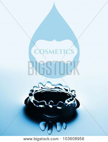 Cosmetics Concept With Water Drop And Splash