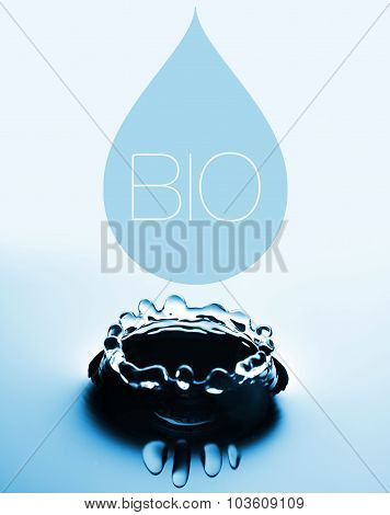 Bio creative concept with water drop and splash poster