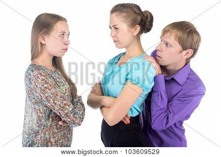 Cowardly Blond Man And Two Young Women