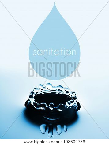 Sanitation Concept With Water Drop And Splash