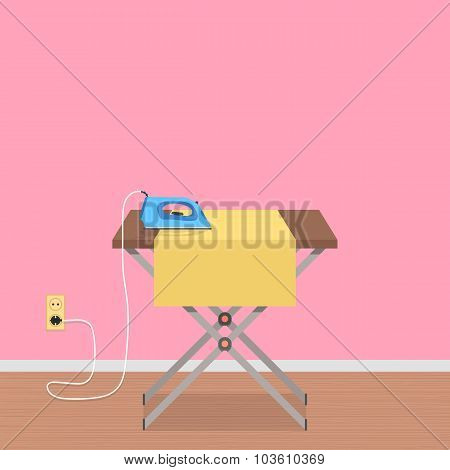 concept of house work with ironing board and clothes iron