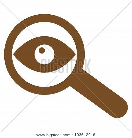 Investigate vector icon. Style is flat symbol, brown color, rounded angles, white background. poster