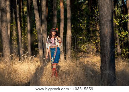 Ukrainian woman in national clothes on the wheat field