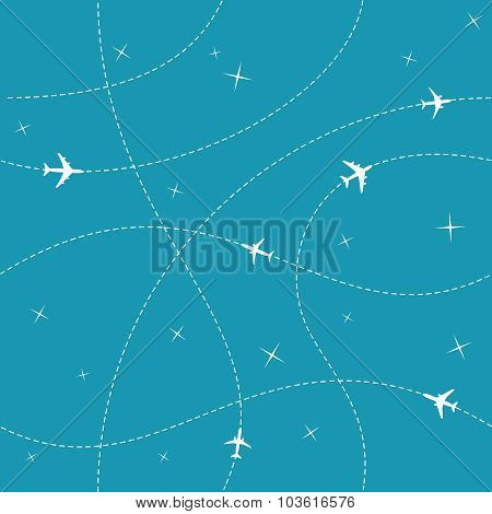 Planes With Trajectories And Stars On The Blue Sky Seamless Vector Background. Easy Color Change Pro