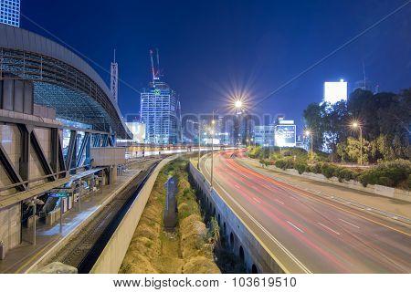 Tel Aviv Road 20 At Night