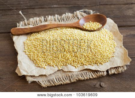 Raw Millet With A Spoon